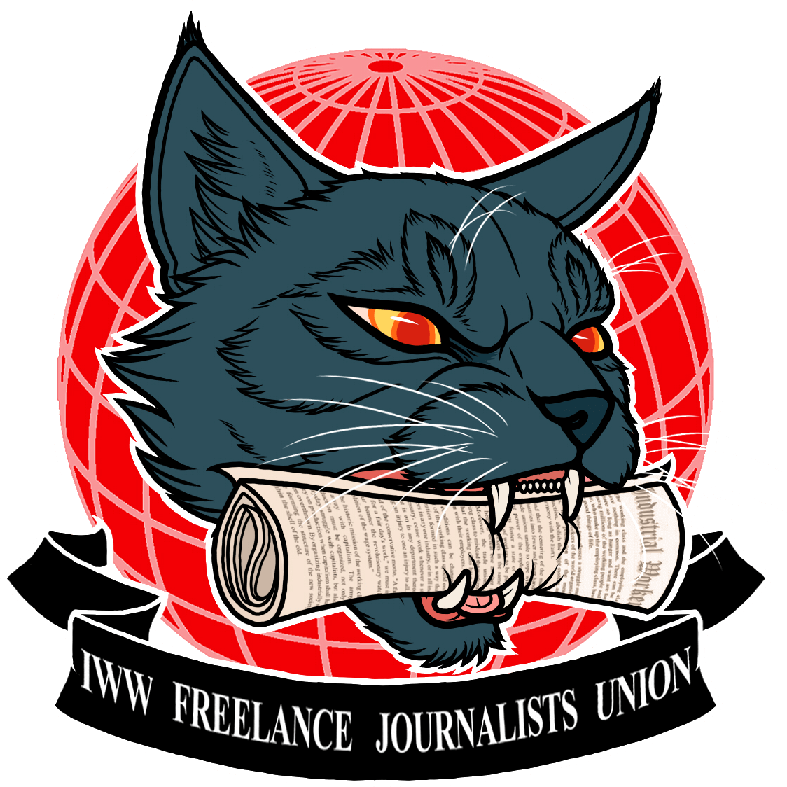 Freelance Journalists Union logo with letters FJU, image of a globe and three stars